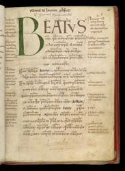 Beatus Page And Ownership Inscriptions, In A Psalter With Old English Gloss And Commentary